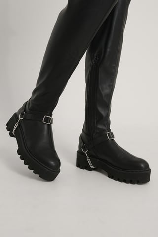 Silver/Black Drop Chain Boot Anklets