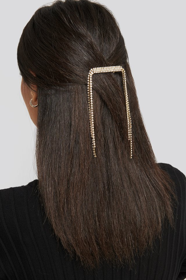 Drop Edge Rhinestone Hairclip Gold