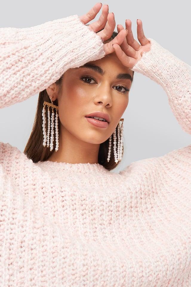 White/Gold Drop Pearl Chain Earrings
