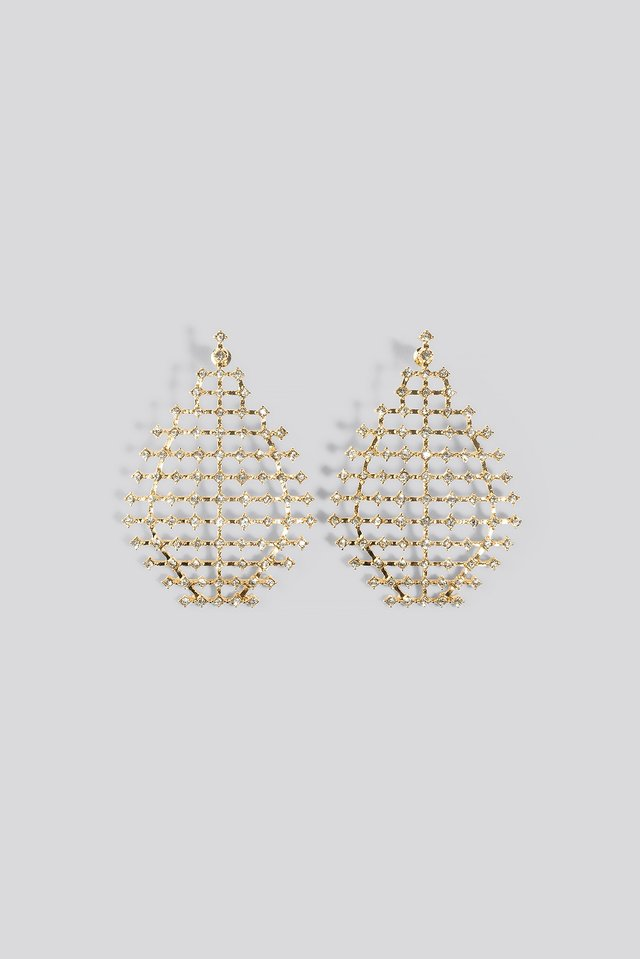 Drop Rhinestone Net Earrings Gold