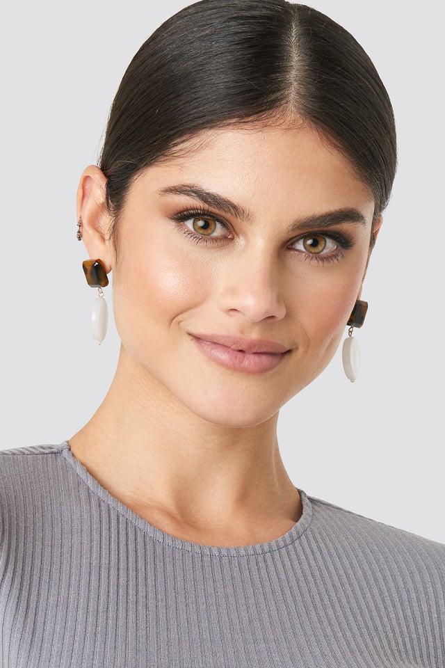 Drop Stone Squared Earrings White