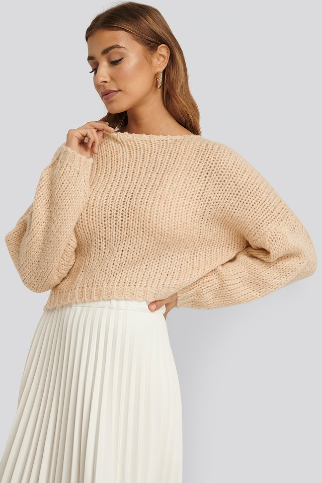 Dropped Balloon Sleeve Knitted Sweater Beige