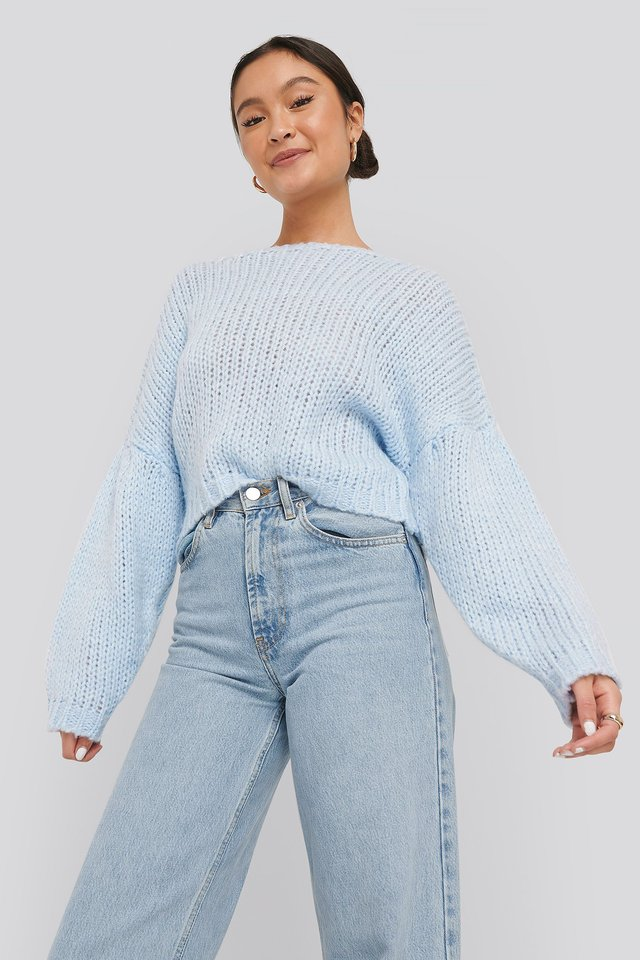 Dropped Balloon Sleeve Knitted Sweater Light Blue