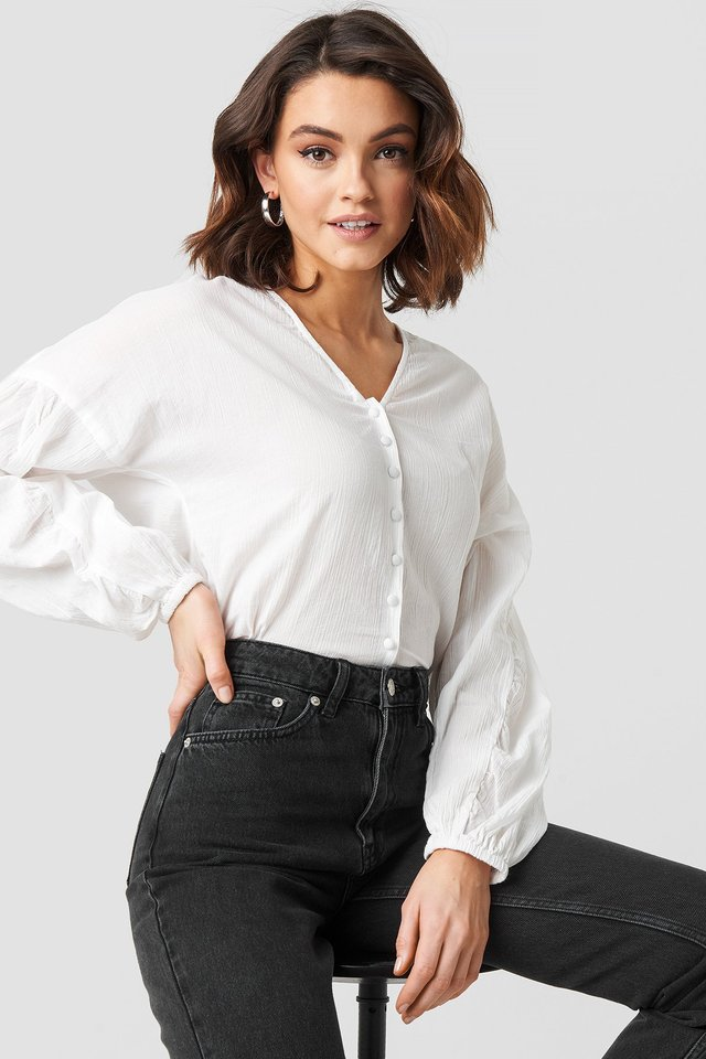 Dropped Shoulder Balloon Sleeve Blouse White