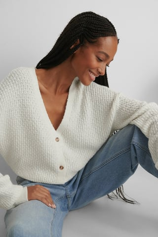 White Dropped Shoulder Knitted Buttoned Cardigan