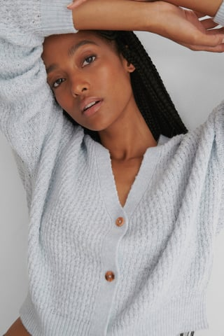 Blue Dropped Shoulder Knitted Buttoned Cardigan