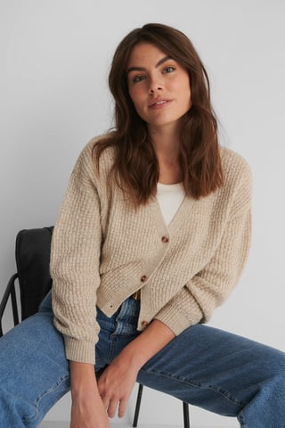 Beige Dropped Shoulder Knitted Buttoned Cardigan