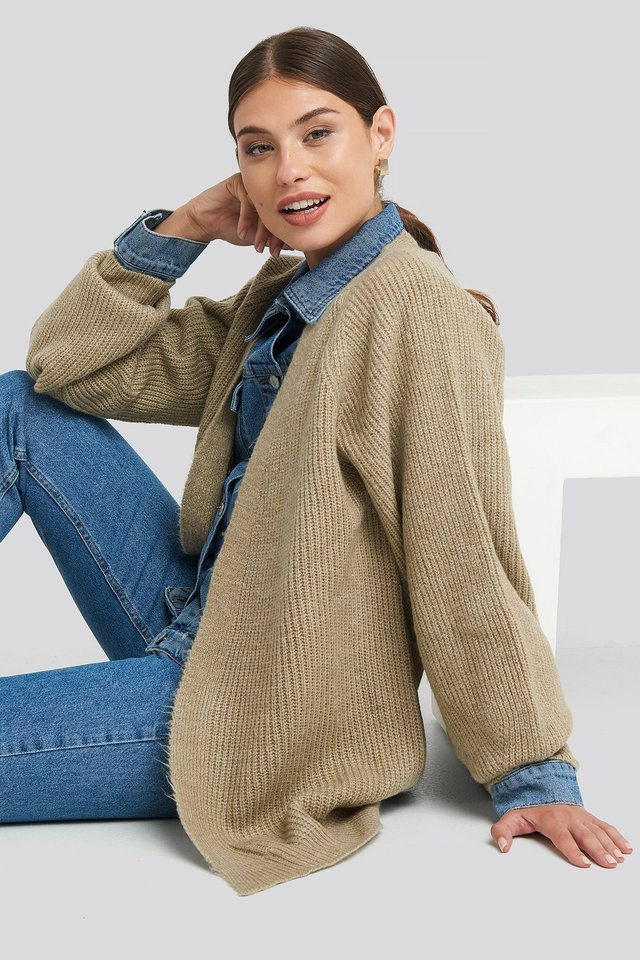 Dropped Shoulder Knitted Cardigan Beige