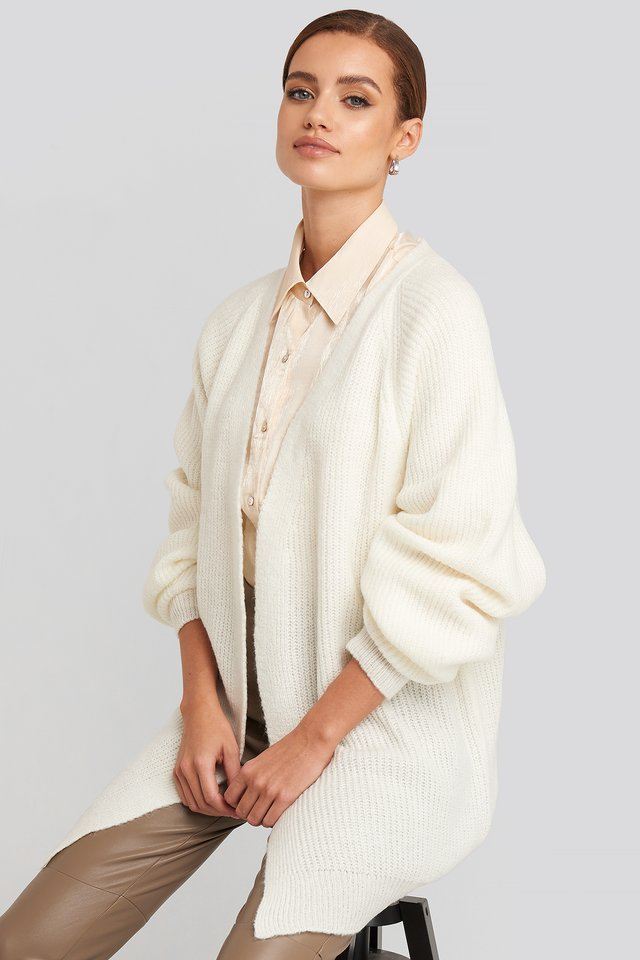 Dropped Shoulder Knitted Cardigan Offwhite