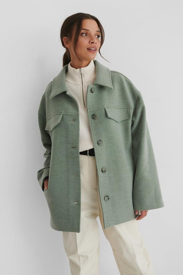 Green Krótki Płaszcz