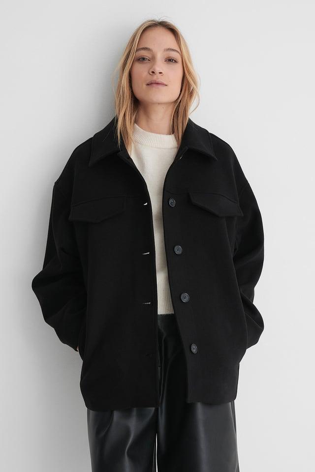 Black Krótki Płaszcz