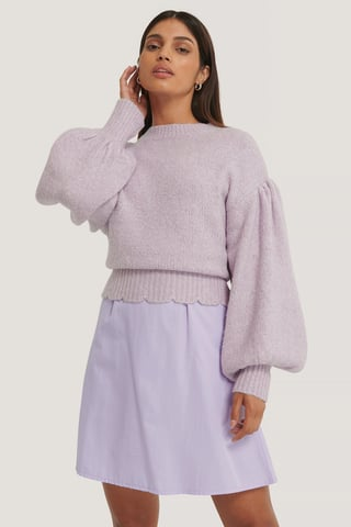 Lilac Dropped Sleeve Knitted Sweater