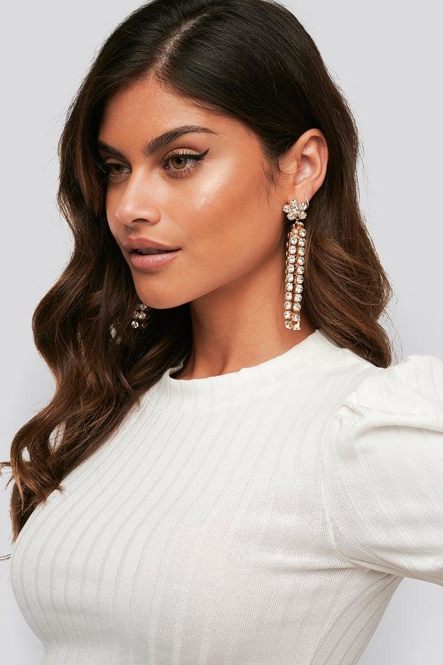 Dropping Flower Strass Earrings Gold