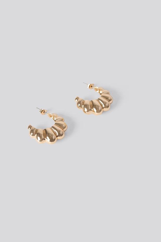 Dropping Hoop Earrings Gold