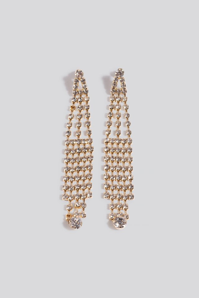 Dropping Strass Earrings Gold