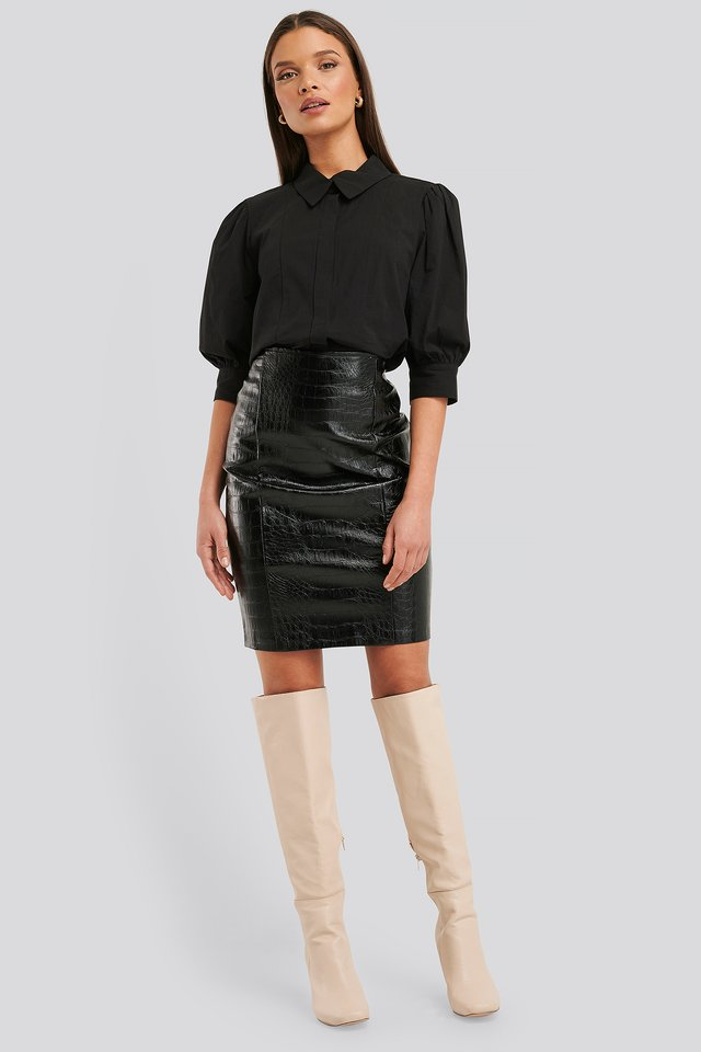 Embossed Croco Pu Skirt Black
