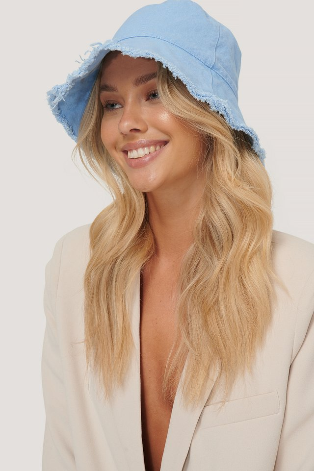 Baby Blue Raw Edge Bucket Hat