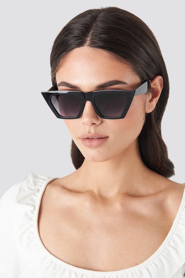 Edgy Cat Eye Sunglasses Black