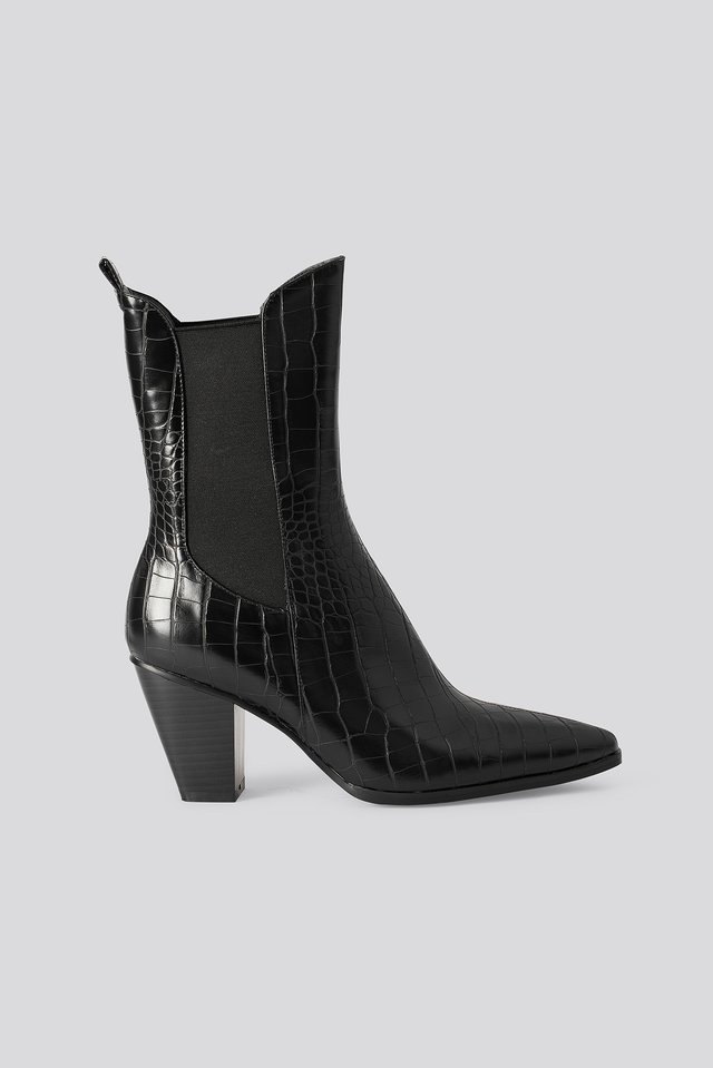 Elastic Detail Calf Boots Black
