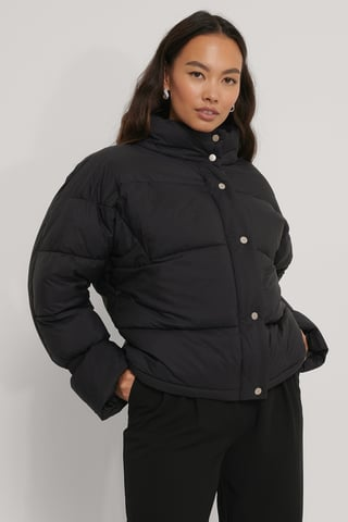 Black Elastic Detail Padded Jacket