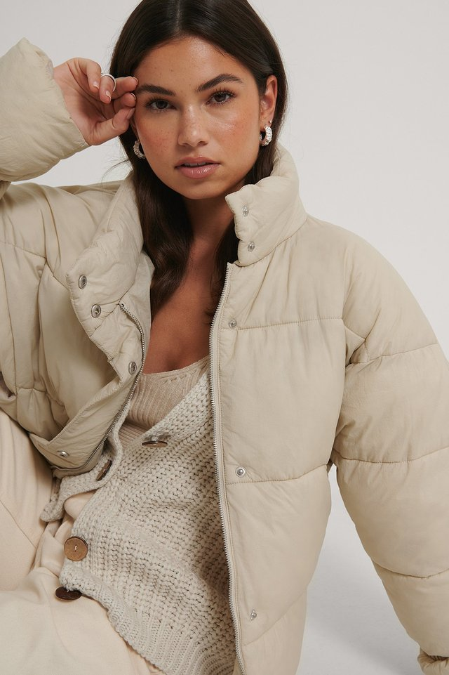 Elastic Detail Padded Jacket Beige