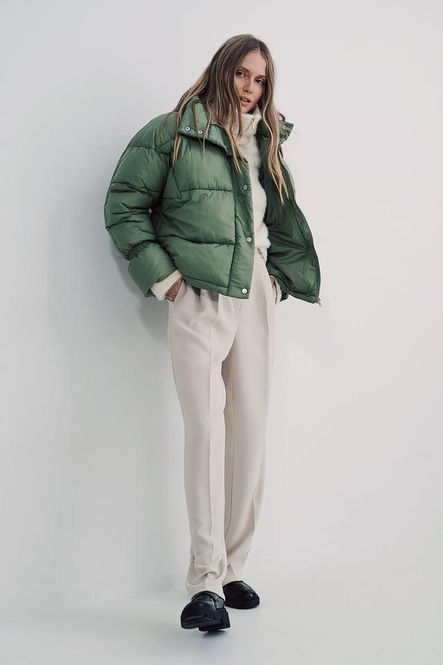Green Puffer-Takki Elastisella Yksityiskohdalla