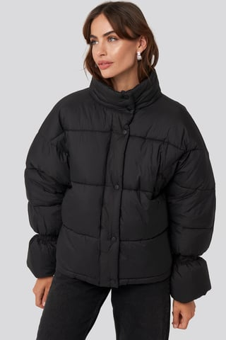 Black Elastic Detail Puffer Jacket