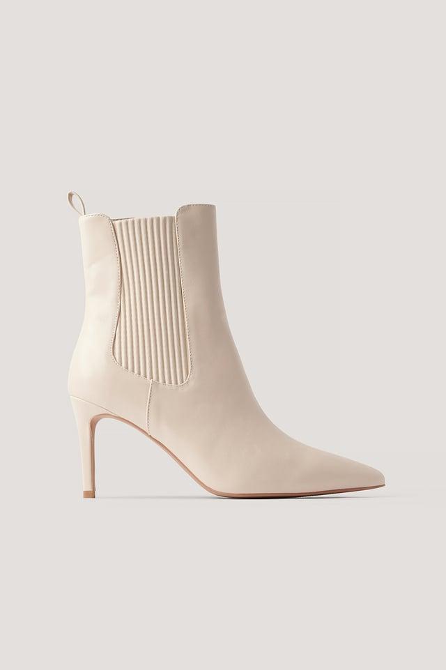 Cream Elastic Detailed Stiletto Boots