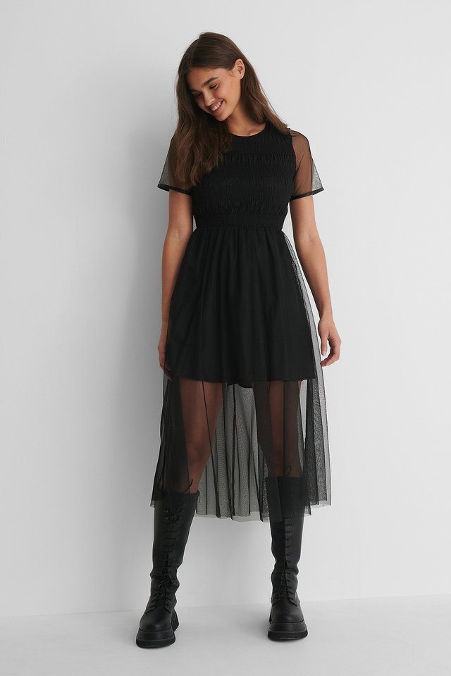 Black Elastic Drawstring Tulle Dress