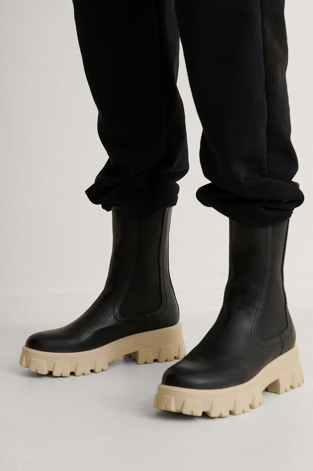 Black/White Støvler Med Elastisk Skaft