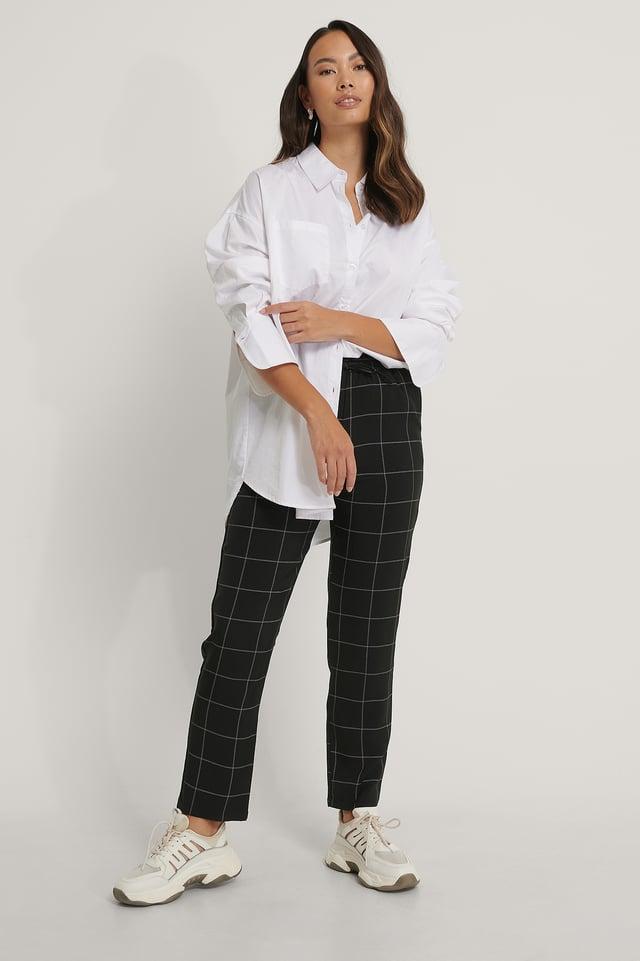 Black/White Rutete Bukser Med Elastisk Midje