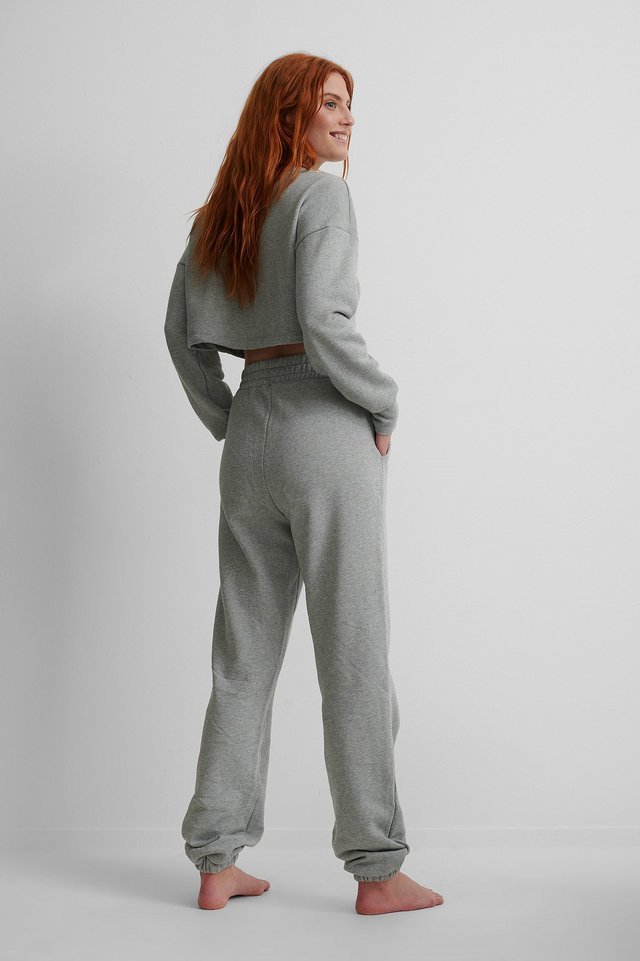 Elastic Waist Detail Sweatpants Grey Melange