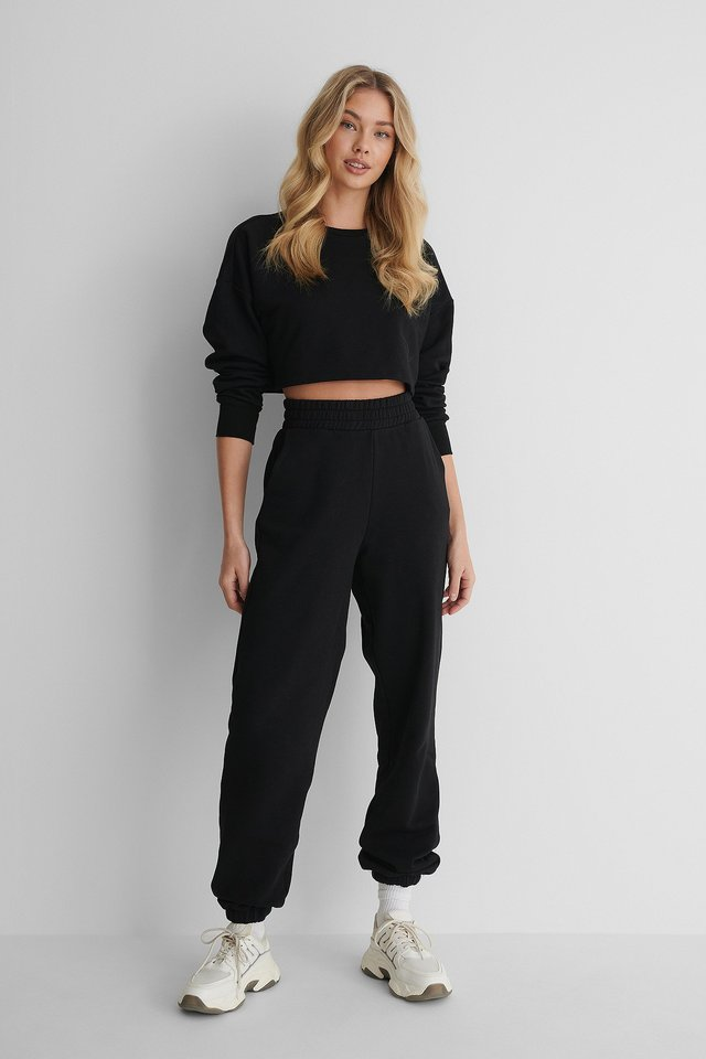 Elastic Waist Detail Sweatpants Black