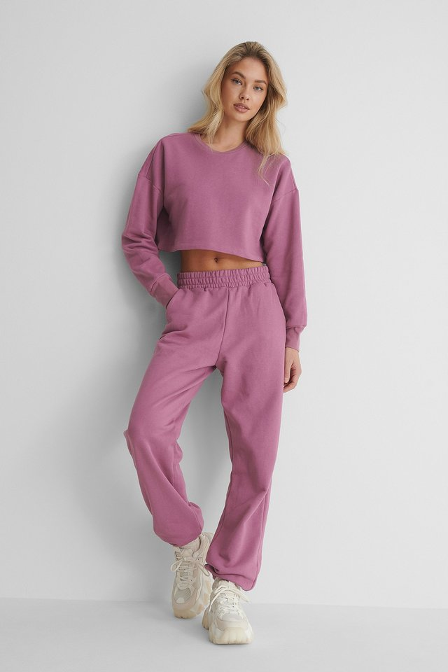 Elastic Waist Detail Sweatpants Purple