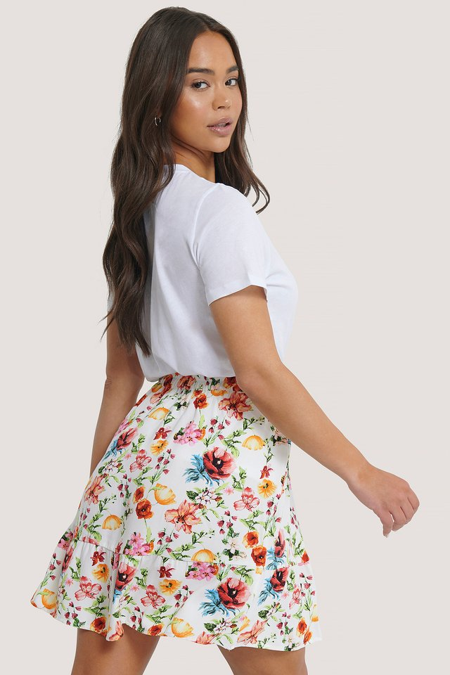 Elastic Waist Flowy Mini Skirt Flower Print