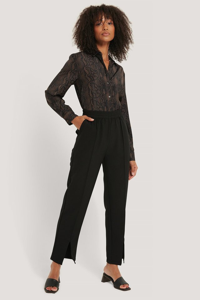 Black Elastic Waist Front Slit Pants