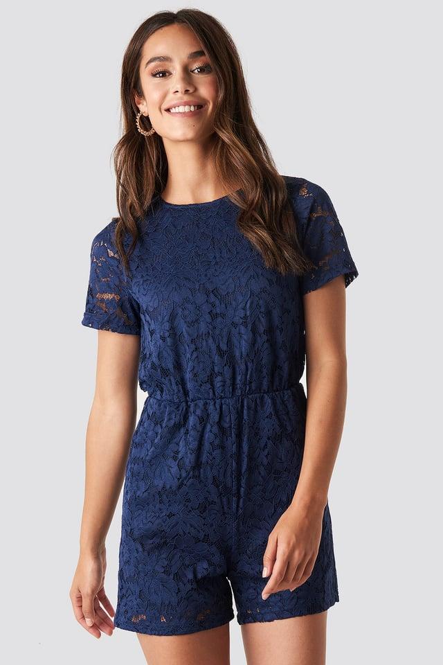 Elastic Waist Lace Playsuit Navy Blue