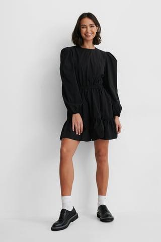Black Långärmad Skjortklänning Med Elastisk Midja