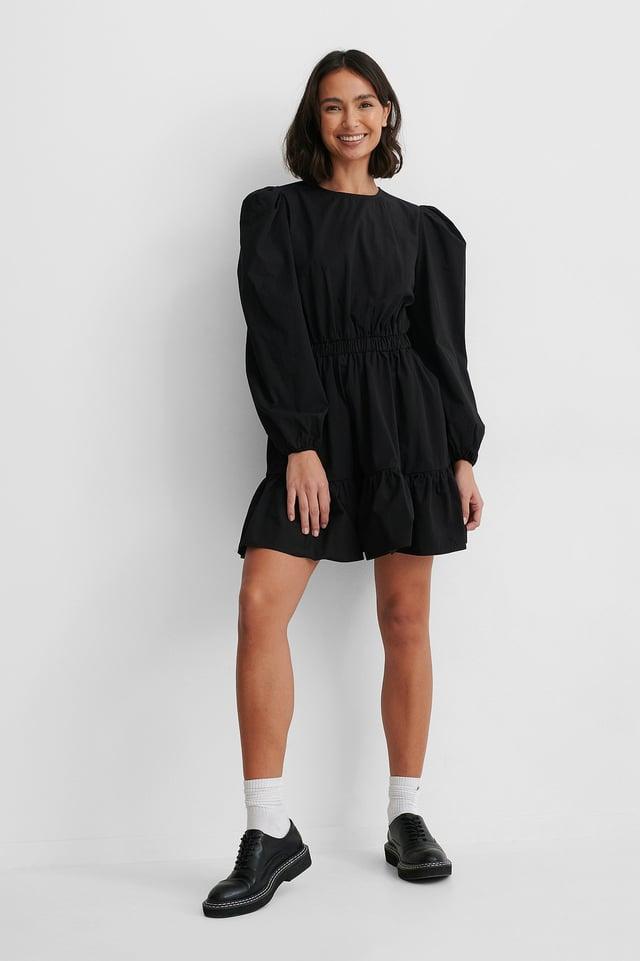 Vestido Camisero De Manga Larga Y Cintura Elástica Black