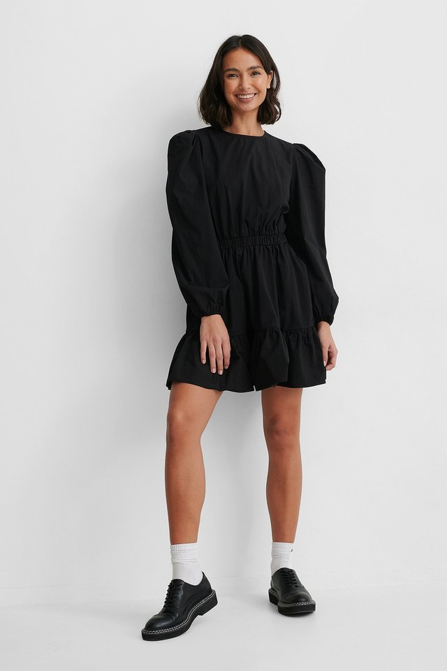 Elastic Waist Long Sleeve Floral Dress Black