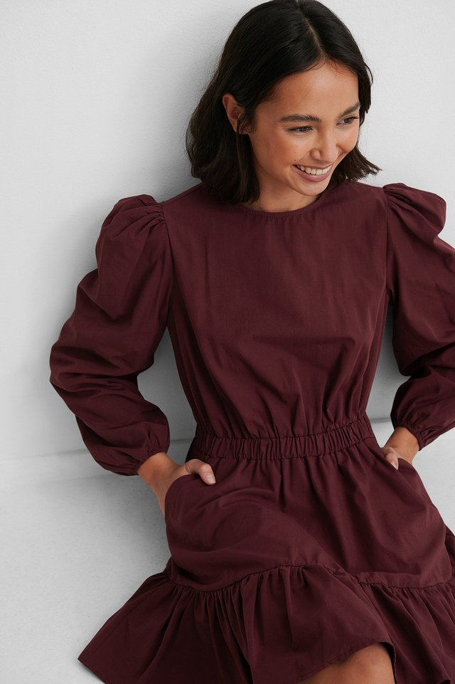 Burgundy Langermet Skjortekjole Med Elastisk Midje