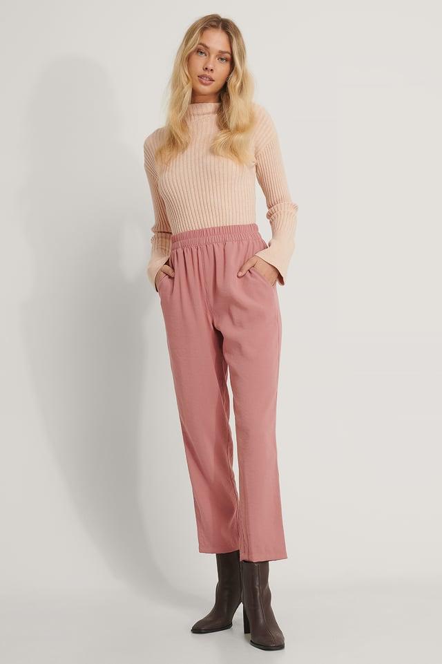 Dusty Dark Pink Bukser Med Elastisk Talje