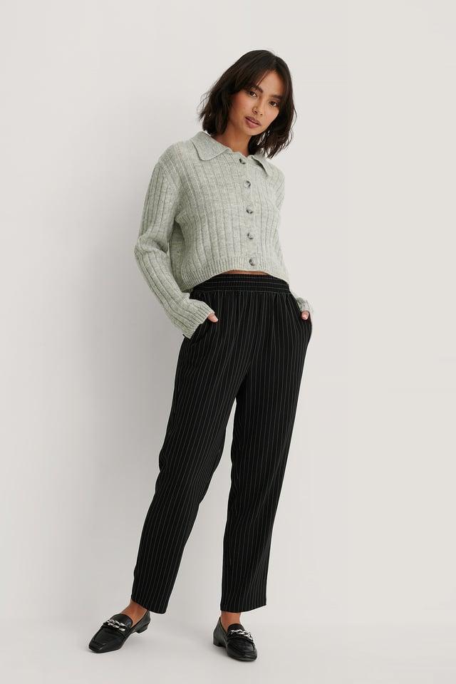 Pinstripe Nålestripete Bukser Med Elastisk Midje