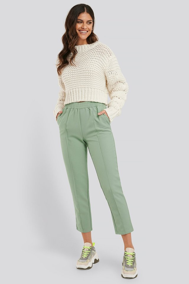 Elastic Waist Seamline Pants Dusty Green