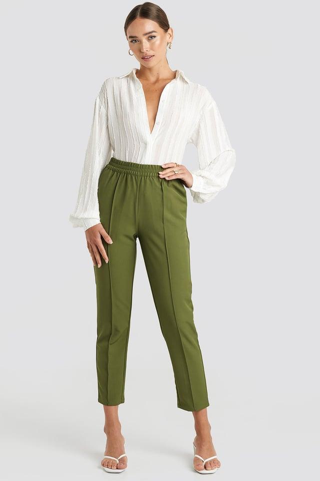 Elastic Waist Seamline Pants Khaki Green
