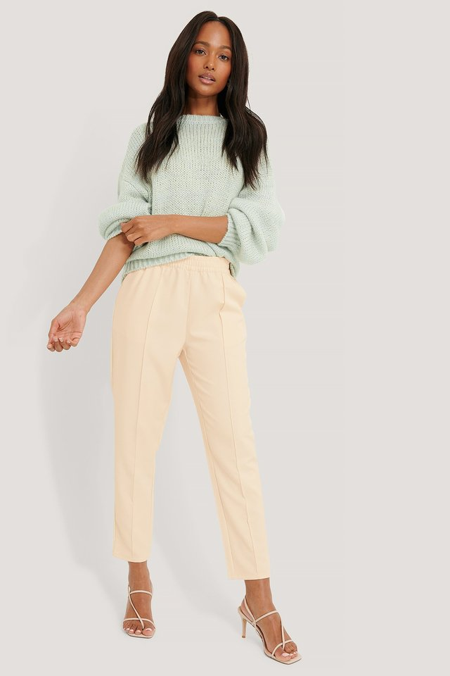 Elastic Waist Seamline Pants Off White