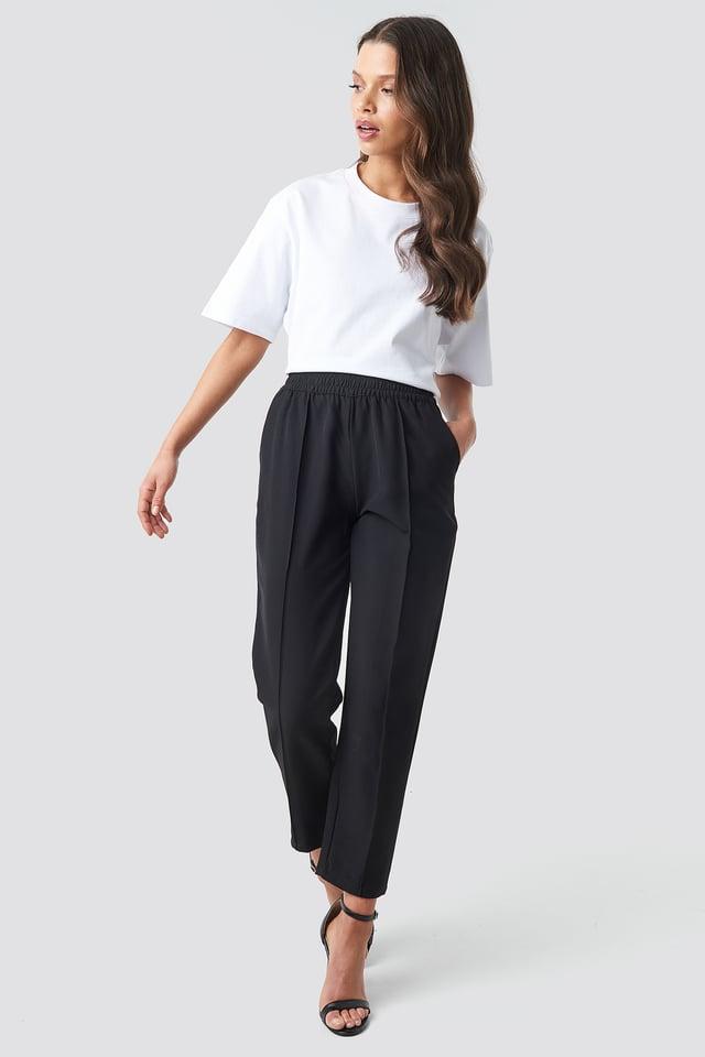 Elastic Waist Seamline Pants Black