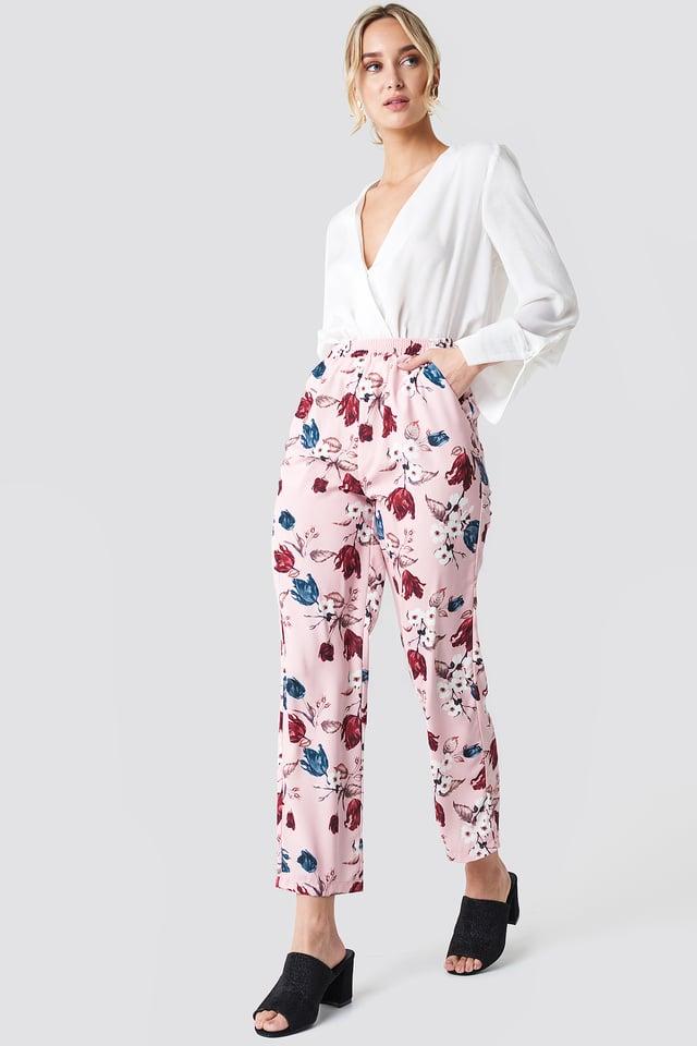Elastic Waist Straight Pants Pink Tulip Pattern