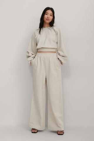 Beige Melange Organic Elastic Waist Wide Sweatpants