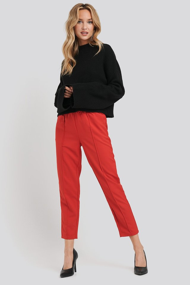 Elastic Waist Seamline Pants Red